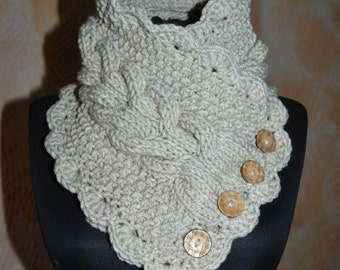 Knitted scarf collar. Beige scarf. Warm oatmeal scarf for women.