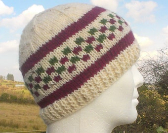 KINSALE Mans Handknit Cream Beanie with Wine and Olive Checks Pure Wool Mans Hat