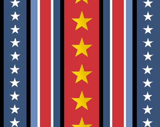 Half Yard Peanuts - Hugs for Heroes - Star Stripe in Red / Navy - Snoopy Cotton Quilt Fabric - Quilting Treasures - 22774-RN (W3111)