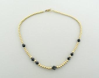 Swarovski Crystal Necklace, Jet Black crystal, Gold Filled Beaded jewelry, Swarovski Crystal Beads, 14k gold filled beads, handmade necklace