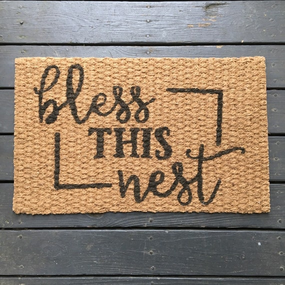 Bless This Nest Welcome Mat By TheHouseOnBrown On Etsy