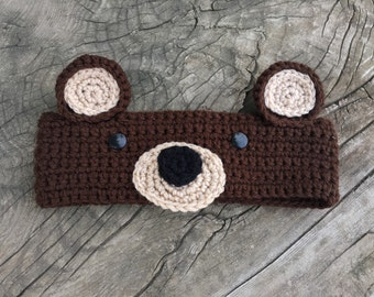 Brown bear ear warmers childrens size 6-10 years.