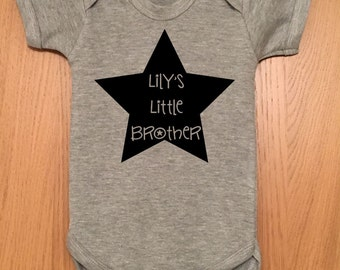 Little Brother - Personalized with a name of your choice baby body/vest/onesie
