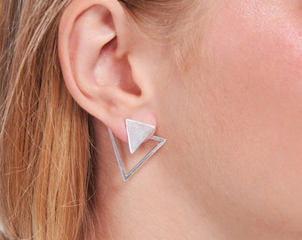 Silver triangle earrings double earrings, geometric ear jacket earrings, front back earrings minimalist earrings, trendy earrings