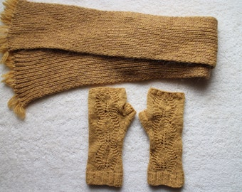 Hand knit wool scarf and fingerless gloves