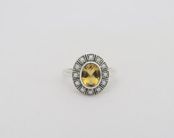 Vintage Sterling Silver Natural Citrine & Seed Pearl Ring Size 7.75
