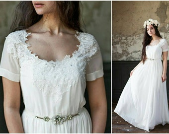 Ksantiya | Romantic wedding gown Alternative wedding dress Lace wedding dress elegant wedding dress lace bridal gown handmade wedding dress