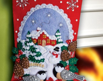 "Bucilla ~ Chickadees ~ 18"" Christmas Stocking Kit #86326 DIY"