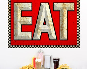 EAT Distressed Checkerboard Wall Decal - #71265