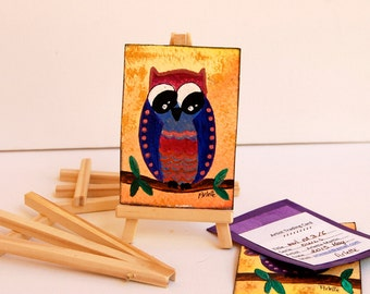 Owl ACEO. Acrylic Painting. Owl painting. Miniature Art. Artist Trading Card. ACEO art card.