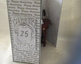 Distinctive Unique Handmade Silver Wedding Anniversary Gift Card