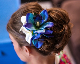 BLUE ORCHID HAIR Clip, Wedding headpiece, hair flowers, hair accessory, bridal clip, silk hair flower, headpiece, Wedding Hair Accessory