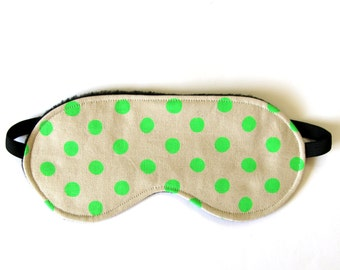 Eye Mask Sleep, Eye Mask, Travel Mask - Neon Green Spots on Natural Oatmeal