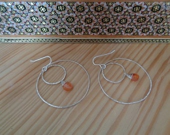 Handmade hammered Round circle Sterling silver & red Agate wrapped silver earrings