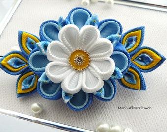 Handmade Kanzashi fabric flower grosgrain ribbon french barrette - hair accessories in UK,shipping worldwide-Hair fascinator