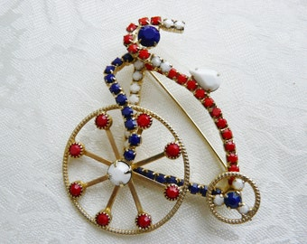 Vintage Patriotic Red White Blue Bicycle Goldtone Figural Brooch Gifts Under Fifty Dollars Birthday Designer Collectibles