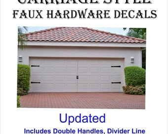 Carriage House Style Garage Door Faux Hardware Vinyl Decal Kit   Select  Color