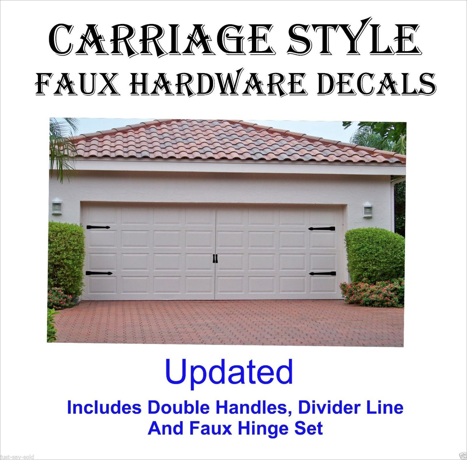 Carriage house style garage door faux hardware vinyl decal kit for Carriage style garage doors kit