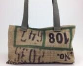 small handbag, vegan bag, upcycled denim, upcycled burlap coffee sack, handbag, hessian bag with rose pink soleil Honduras coffee sack.