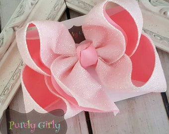 Pink Glitter Bow Large White Glitter Light Pink Bow Baby Pink Hairbow