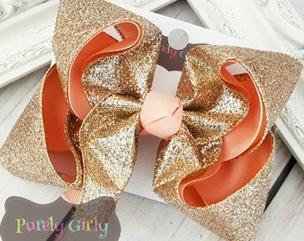Gold Glitter Hairbow Light Coral Bow Large