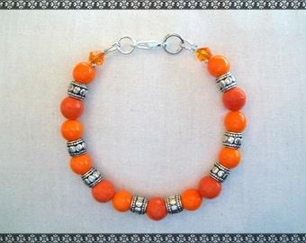 orange bracelet, porcelain bracelet, bright orange