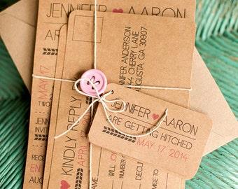 Brown kraft paper modern wedding invitation and postcard RSVP eco friendly