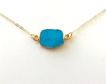 Turquoise Necklace, Turquoise Gold Necklace, Gold Edged Turquoise Necklace