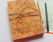 Old Map Blank Art Journal, Watercolor Journal, Mixed Media Journal, Sketch Journal, Hand Bound Book, Sketchbook,Coptic Stitch