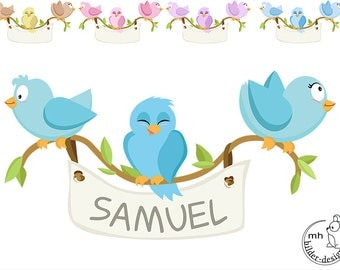 """Wall Decal SET """"Birds"""" color choice nursery baby  children's room decorations for wall sticker"""