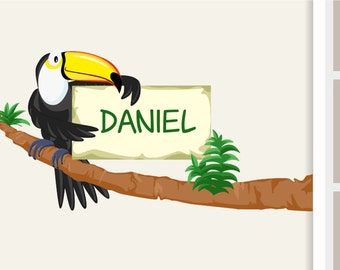 Wall decal toucan door sign name tag
