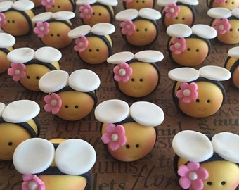 12 Edible Fondant Queen bee  OR 12 bees with bow tie Toppers