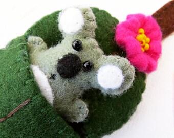 Koala and Gum leaf - Felt miniature - Australian Animal Toy in bed