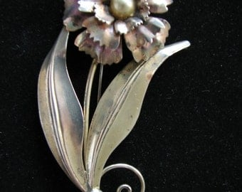Signed EstateSterling Silver Brooch  Large Flower Pearl Center Estate Jewelry