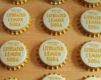 12 Vintage Unused Lithiated Lemon Soda Bottle Caps with Cork Lining Retro Yellow and White Bottle Caps Vintage Advertising