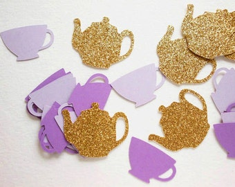 Tea Party Decorations, Glitter Gold & Purple Teapots Teacup Confetti, Alice in Wonderland, Table Confetti, 70 CT, Ships in 2-3 Business Days