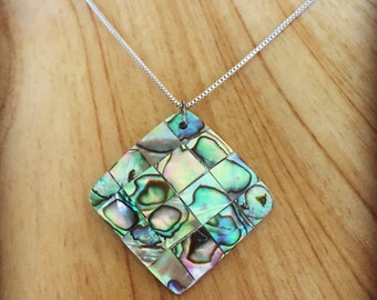 Mother of Pearl Square Pendant Necklace