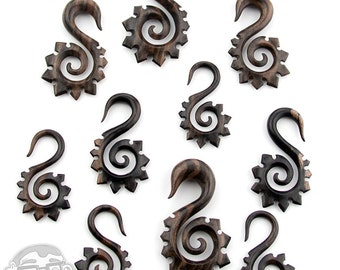 "Areng Wood Tribal Spike Spiral Hangers Sizes / Gauges (8G - 1/2"") - New!"