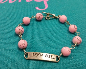 Jeep Girl Bracelet With Pink Beads