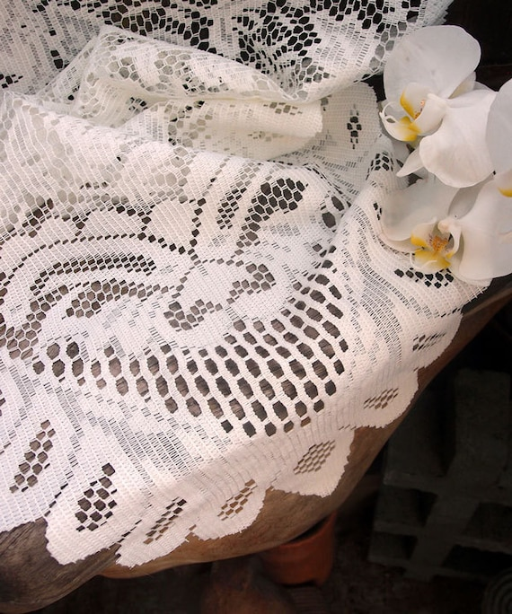 Ivory lace table runner floral style 13 x 120 from for 10 minute table runner 30 minute tote bag