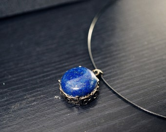 Retro Lapis Lazuli Choker - Lapis Lazuli Necklace - Genuine Lapis Lazuli Jewelry