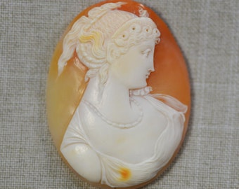 Antique Victorian Cameo Hand Carved Shell Cameo