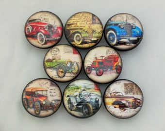 Set of 8 Antique Cars Cabinet Knobs