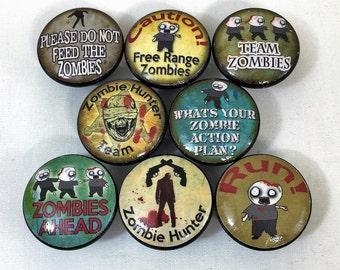 Set of 8 Zombie Apocolypse Print Cabinet Knobs