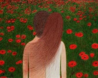 Poppy Art, Romantic Couple, Poppy Print, Spiritual Art, Love Couple Poppies, Poppy Field, Abstract Art, Framed Poppy Picture, Gift