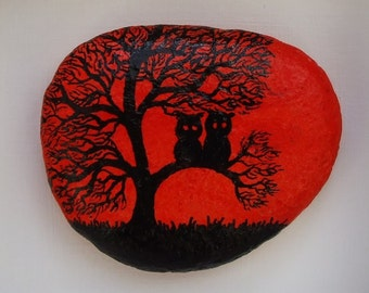 Owl Painting, Painted Stone Magnet, Owl Magnet, Owls in Tree Pebble Magnet, Owl Art,  Painted Pebble, Owls in Tree Silhouette Art Painting