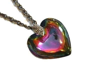 Vintage Big Glass Heart Necklace Pendant Aurora Borealis Rhinestone Jewelry Anniversary Valentine Gift for Her Fifth Avenue Collection