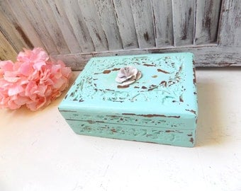 Aqua Mint Ornate Carved Wood Trinket Box  Shabby Chic Distressed Jewelry Box with Metal Rose Embellishment  Bridesmaid Gift Box Cottage Chic