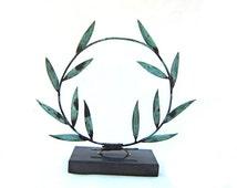 Bronze olive branch sculpture , Ancient Greece symbol , Verdigris bronze wreath