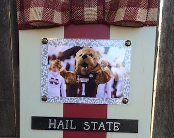 MS State Hail State Large Bow Table Top Frame with Burlap Ribbon
